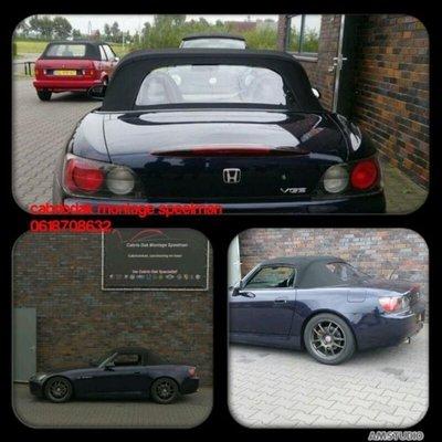 Honda S2000 cabriolet. Stoffen Topline cabriolet dak met pvc ruit incl. montage aan huis vanaf 975,-